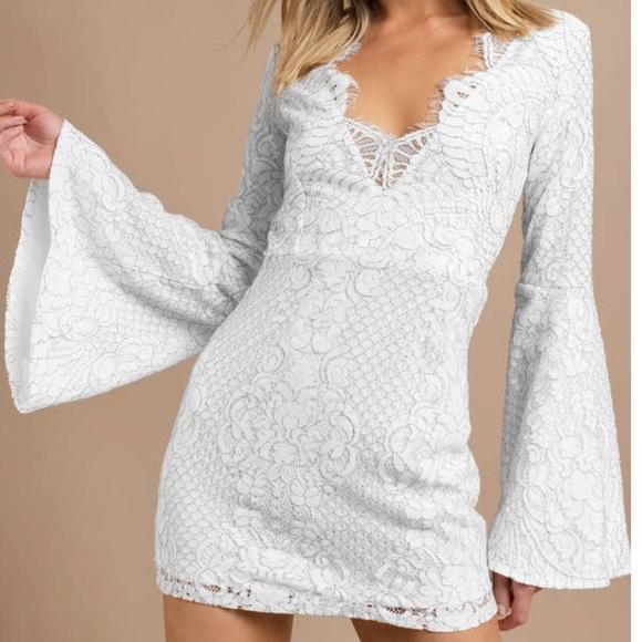 Tobi Dresses & Skirts - White Lace Lydia Bell Sleeve Dress XS / Tobi